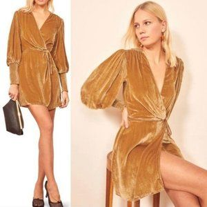 NWT Reformation Boheme Gold Velvet Wrap Dress